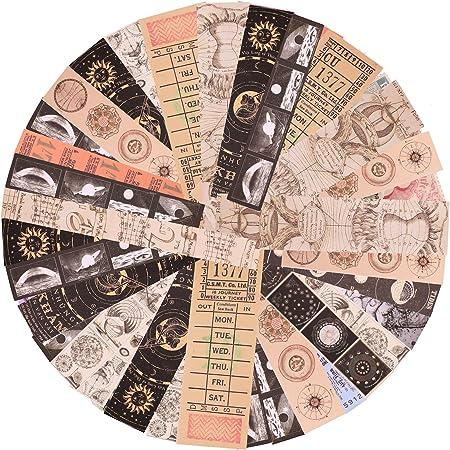 240 Feuilles Autocollant Washi Papier Vintage Astronomie Autocollants Vintage DIY Scrapbooking de Cartes Anciennes Espace Planètes Galaxie Soleil et Lune pour Planificateur Journal