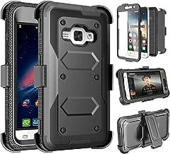 Tinysaturn Galaxy Luna Case, Galaxy Amp 2 Case, Galaxy Express 3 Case,J1 2016 Case, (TM) [Yvenus Series] [Black] Shock Absorbing Holster Belt Clip [Built-in Screen] Cover for Samsung Galaxy J1 2016