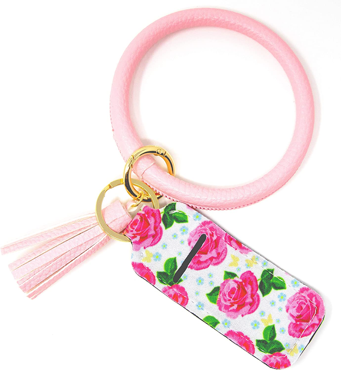 Light Pink Flower Leather Key Ring Bracelet Keychain for Women Wristlet with Circle Keyring and Neoprene Chapstick Lipstick Holder by Jackson and Co.…