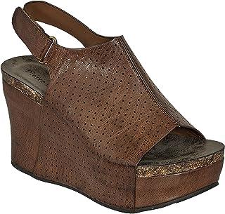 Pierre Dumas Womens Vegan Leather Peep-Toe Adjustable Ankle Strap Wedge Sandals Open Toe Hester