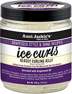 Aunt Jackie's Grapeseed Recipes - Ice Curls, Glossy Curling Jelly, Curl Smoothing Recipe Hydrates & Softens For easier Prep and Style, 15oz Jar