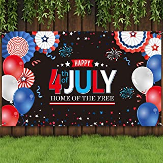 Sumind 4th of July PartyBackdropFabricPatrioticSignBannerIndependence Day Theme Party BackgroundPatriotic Hanging B...