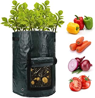 ANPHSIN 10 Gallon Potato Grow Bags with Flap and Handles - Aeration Tomato Fabric Plant Pots - Garden Bag Planter Pots - V...