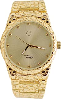 Mens Techno 14k Gold Plated Iced Out Lab Diamond with Gold Dial Diamond Cut Nugget Metal Band Watch