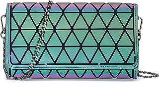 Lumikay Holografische börse für Damen, geometrische leuchtende börse, lange Geldbörse, Flash-Cross-Body-Tasche - Schwarz -...