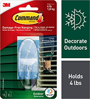 Command Outdoor Large Window Hook, Decorate Damage-Free (17093CLR-AWES)