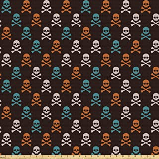 Ambesonne Pirates Fabric by The Yard, Different Colored Graphic Skull with Bones on Black Background Halloween, Stretch Knit Fabric for Clothing Sewing and Arts Crafts, 2 Yards, Black Aqua