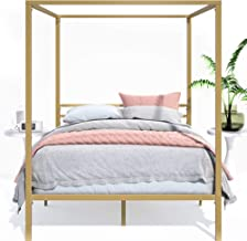 Zinus Patricia Metal Framed Canopy Four Poster Platform Bed Frame | Strong Metal Slats, Under Bed Storage, Easy Assembly -...