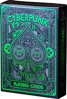 Cyberpunk Playing Cards, Green Deck of Cards, Premium Card Deck, Best Poker Cards, Unique Bright Colors for Kids & Adults, Card Decks Games, Standard Size