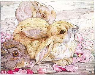 Baby Bunny Rabbit Woodland Kids Wall Decor Art Print - Pastel Pink Theme - Playroom Bedroom Classroom or Nursery - 8 x 10