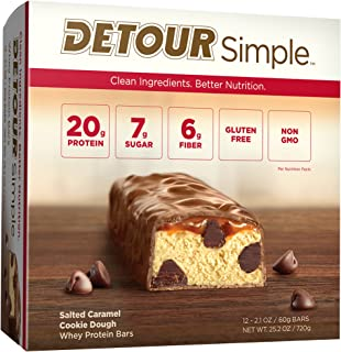 Detour Simple Whey Protein Bar, Salted Caramel Cookie Dough, 2.1 Ounce, 12 Count