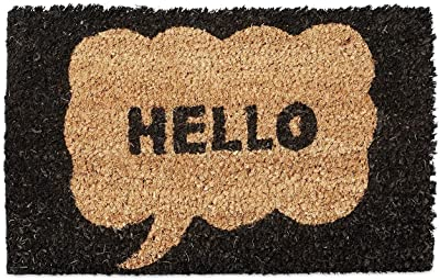 Relaxdays Kids Childrens Mini Doormat Coir with Hello Speech Bubble Theme as Welcome Mat Anti-Slip Robber Underside 1.5 x 40 x 25 cm, Motif: Hello