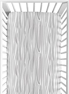Sweet Jojo Designs Grey and White Woodland Wood Grain Baby or Toddler Fitted Crib Sheet for Rustic Patch Collection - Gray