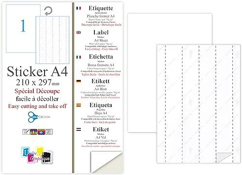 50 EX Papier adhésif blanc A4 autocollant SPECIAL DECOUPE : une feuille adhésive pour créer et imprimer vos propres é...