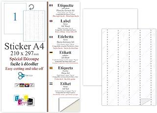 100 Papier adhésif blanc A4 autocollant SPECIAL DECOUPE feuille adhésive pour créer imprimer vos étiquettes sur imprimante...