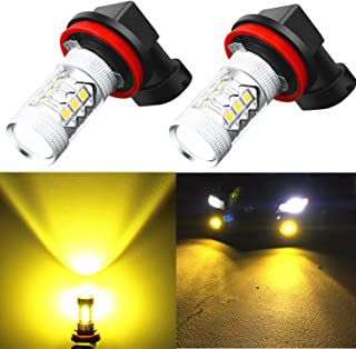Alla Lighting H16 LED Fog Lights Bulbs 3000k Golden Yellow Xtreme Super Bright 12V High Power 3030 SMD LED H8 H11