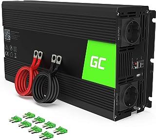Green Cell® 1500W/3000W Onda sinusoidal modificada Inversor de Corriente Power Inverter DC 12V AC 220V, Transformador de Voltaje para Coche con Puerto USB y Pinzas de conexión a batería
