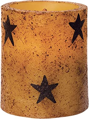 CWI Gifts Star Flameless Rustic LED Unscented Pillar Candle - 3 x 3.5 inch - Burnt Mustard Finish - On/Off Switch - 6 Hour Timer - Home Decor Lighting