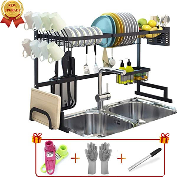 Topkitch New Upgrade Over The Sink Dish Drying Rack Black With Utensils Holder Stainless Steel Sink Size 33in Garlic Grater Magic Gloves Multi Hand Grater