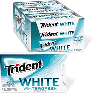 Trident White Wintergreen Sugar Free Gum, 9 Packs of 16 Pieces (144 Total Pieces)