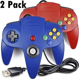 2 Pack USB Classic N64 Controller, iNNEXT N64 Wired PC Gamepad Joystick, 64 Bit GameStick Joypad for Windows PC MAC Linux Raspberry Pi 3 Genesis Higan Project 64 Retropie OpenEmu Emulator (Blue&Red)