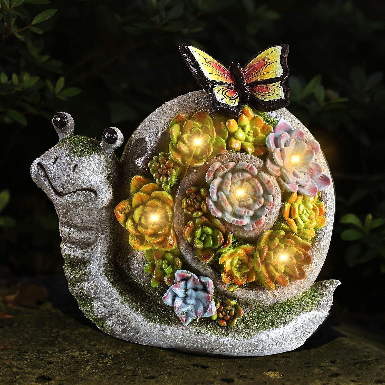 WEFINDER Garden Statue Snail Decor, Outdoor Yard Solar Powered Resin Sculpture, Animal Figurines Art Ornaments for Patio Lawn Garden Indoor Decorations