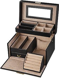 SONGMICS Coffret à Bijoux Boîte à Bijoux 22,5 x 17 x 13,5 pour Bagues, Bracelets, Boucles d'oreille, Montres Noir JBC114