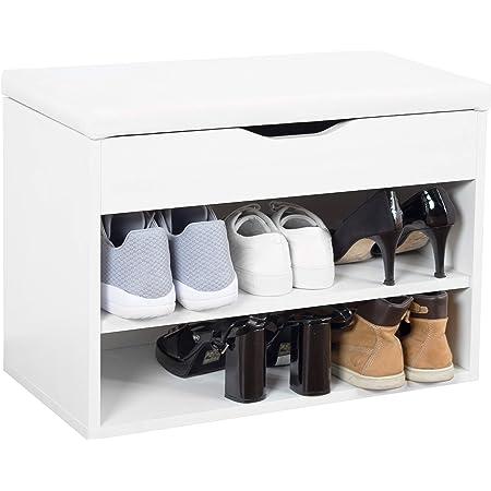 ricoo wm032 ww meuble a chaussures 60x42x30cm banc coffre rangement commode banquette meuble de rangement chaussures coussin bois blanc