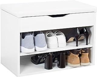 RICOO WM032-W-W Banco Zapatero 60x42x30cm Armario Interior con Asiento Organizador Zapatos Mueble recibidor Perchero...