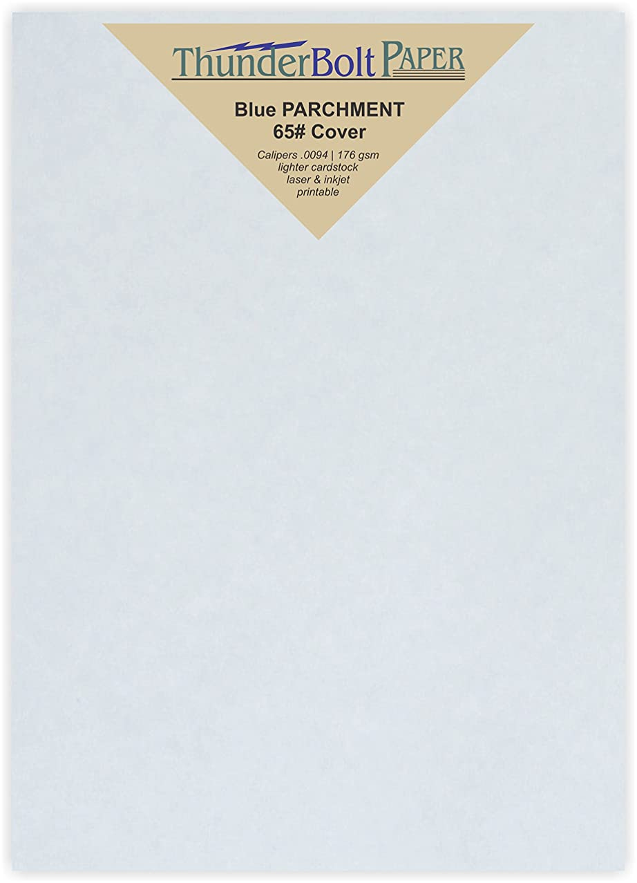 250 Light Blue Parchment 65lb Cover Weight Paper - 5