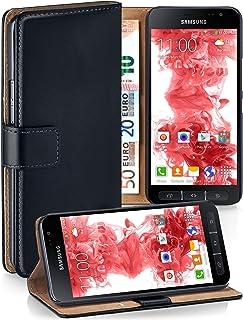 moex Klapphülle kompatibel mit Samsung Galaxy Xcover 4 Hülle klappbar, Handyhülle mit Kartenfach, 360 Grad Flip Case, Vegan Leder Handytasche, Schwarz
