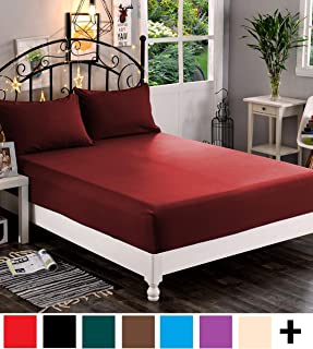Elegant Comfort Premium Hotel 1-Piece, Luxury & Softest 1500 Thread Count Egyptian Quality Bedding Fitted Sheet Deep Pocket up to 16inch, Wrinkle and Fade Resistant, Queen, Burgundy