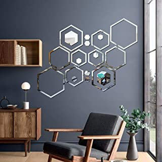 Best Decor 20 Shape Hexagon Silver Code 208 Acrylic Mirror 3D Wall Sticker Decoration for Kids Room/Living Room/Bedroom/Of...