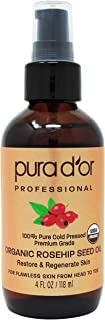 PURA D'OR Organic Rosehip Seed Oil (4oz / 118mL) 100% Pure Cold Pressed USDA Certified Organic, All Natural Anti-Aging Moi...