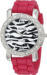 XOXO Women's XO8054 Rhinestones Accent Fuchsia Silicone Strap Watch