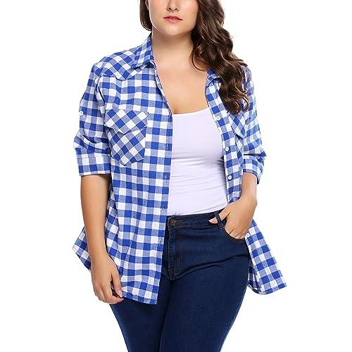 a7c088900af IN VOLAND Involand Women Plus Size Summer Roll Up Sleeve Boyfriend Plaid  Button Down Shirts