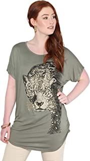 Camiseta Mujer Blusa Leopardo Top Brillante Camisa Casual Tallas Grandes
