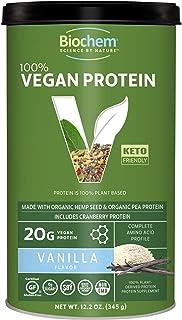 Biochem 100% Vegan Plant Protein - Vanilla - 11.4 oz - Easily Digestible - Amino Acid - Cranberry - KETO-Friendly - Hemp S...