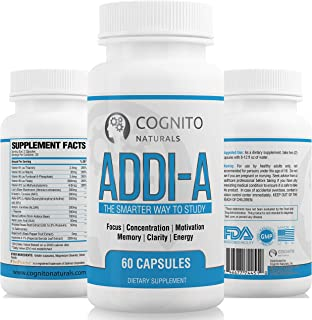 ADDI-A Adderall Style Supplement for Studying & Working | #1 Brain Booster for College Students & Professionals | Super Focus + Energy, Clarity & Motivation Nootropics | Premium Nootropic Supplement