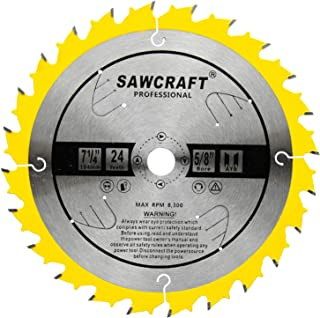 Sawcraft 7-1/4-Inch Circular Saw Blade 24 Teeth Woodcutting ATB Carbide Saw Blade with 5/8 (7 1/4inch-24T)