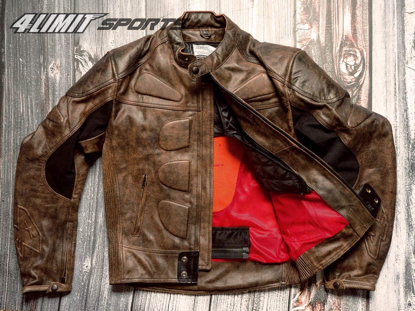4limit Sports Motorradjacke Leder Streetbandit Biker Rocker Schwarz Größe M Auto