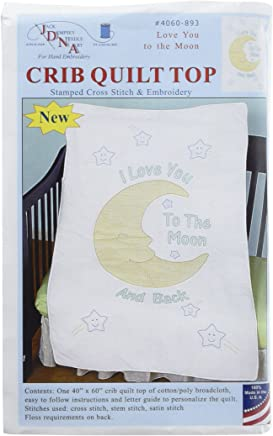 featured product Jack Dempsey 4060-893 Stamped Quilt Crib Top,  40 x 60,  Love You To The Moon,  White