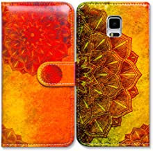 Galaxy S5 Case,Bcov Gold Mandala Flower Wallet Leather Cover Case for Samsung Galaxy S5