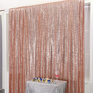 Juya Delight 4ft x 7ft Rose Gold Sequin Photography Backdrop Curtain for Wedding Party Decoration Festival Ceremony
