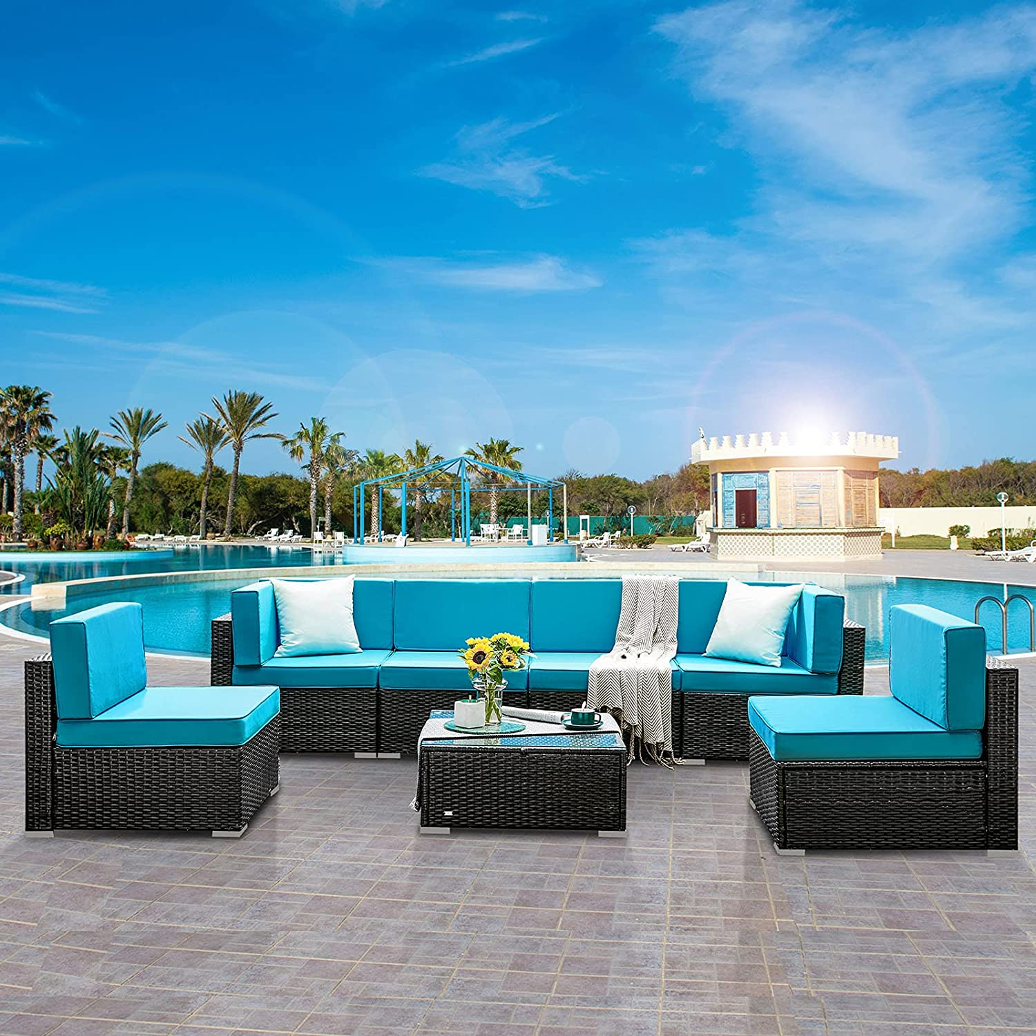 HONBAY 7 Pieces Outdoor Patio Furniture Sets PE Wicker Rattan Patio Sectional Sofa Couch with Cushions and Coffee Table for Garden Poolside(Blue)