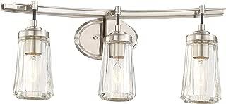 Minka Lavery Wall Light Fixtures 2303-84 Poleis Wall Bath Vanity Lighting, 3-Light, 180 Watts, Brushed Nickel