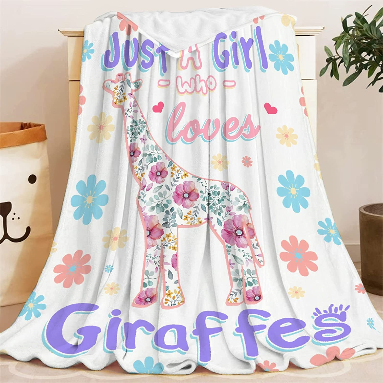 Blankets Just Girl Who Loves Giraffes Blanket lowest price Throw Popular Lightweight