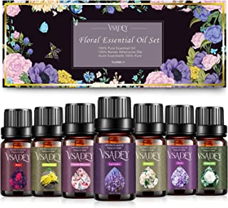 Ätherische Öle Set Blumen 7 x 10 ml, 100% Naturrein Aromatherapie Duftöl GeschenkSet für Diffuser Duftlampen Luftbefeuchter Lavendel, Rose, weißer Tee, Kirschblüte, Kamille, Ylang-Ylang, Nelke