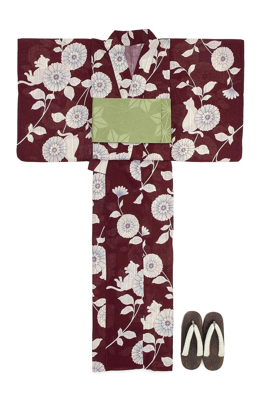 (ソウビエン) 浴衣 セット レディース 濃赤 レッド 生成色 菊 花 猫 ネコ レトロ 綿麻 半幅帯 マクレ ボヌールセゾン