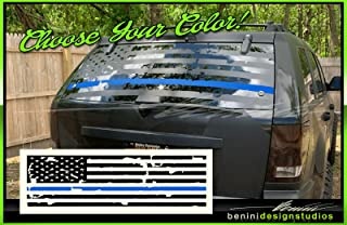 Blue Line Lives Matter American Flag SUV Back Window Decal Grand Compatible with Cherokee Jeep (Matte Black)